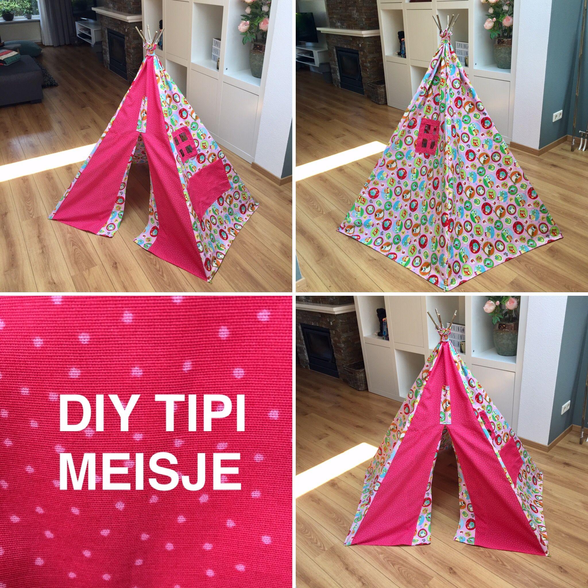 DIY Tipi Tent voor een meisje. Gemaakt voor dochtertje van een collega en tevens de eerste keer dat ik een naaimachine heb vastgehouden. Leuk en eenvoudig om te maken en super makkelijk aan te passen aan wensen en voorkeuren (raampjes, zakjes, stoffen, etc.).