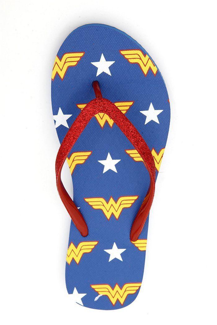 DC COMICS WONDER WOMAN GLITTER FLIP FLOPS-- A Relay present from an AWESOME friend!!
