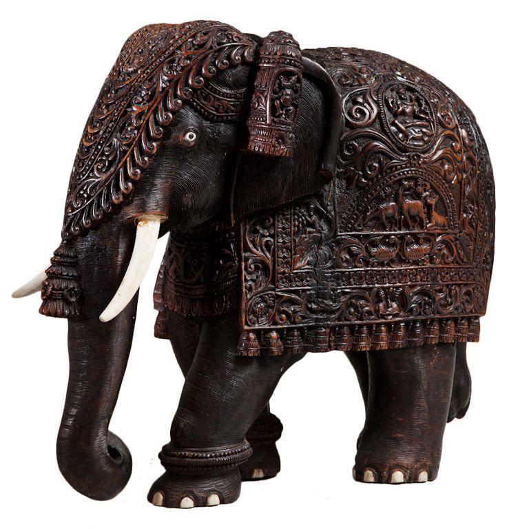 A Mid 19th Century Teak Indian Elephant With Carved Bone Tusks 1stdibs Com Indian Elephant Elephant Sculpture Antique Sculpture