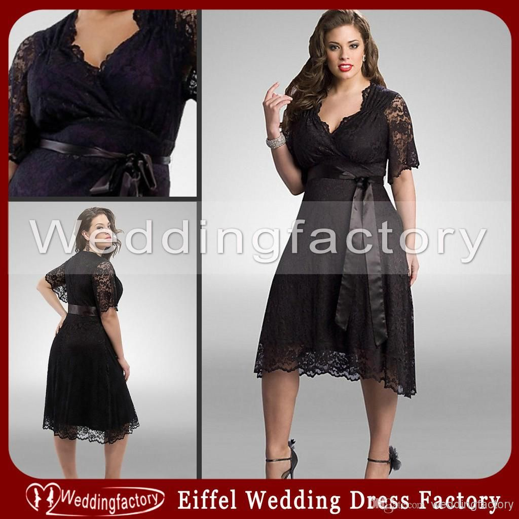 Black Lace Plus Size Bridesmaid Dresses with Sleeves A Line ...
