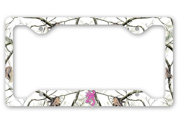 Browning Pink Bow Buck Head Deer Snow Camo License Plate Frame Car ...