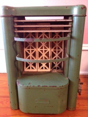 Antique Vintage Atlanta Gas Heater Green Model J15