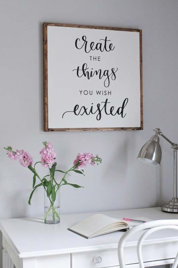 All White DIY Room Decor - DIY Wood Sign with Calligraphy Quote