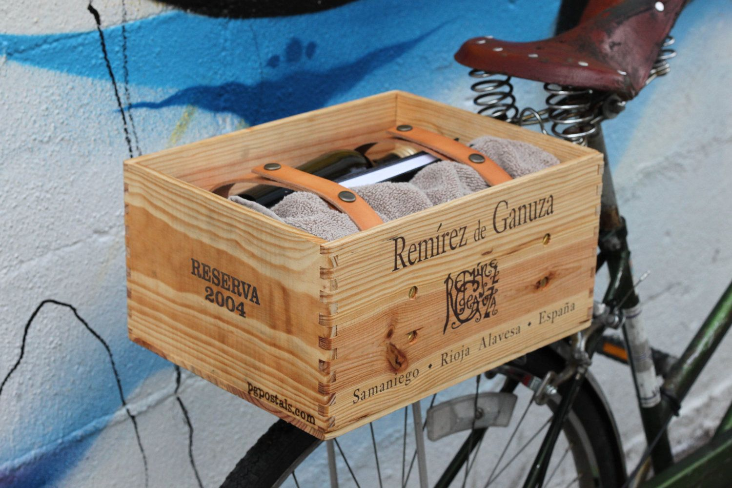 Wine Box With Leather Straps For Bike 75 00 Via Etsy Wooden