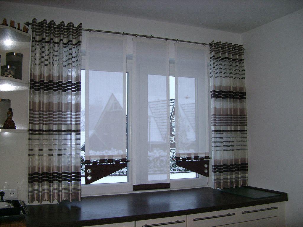 Lila Schiebevorhang fürs Wohnzimmer mit grauen Seitenschals - http ...