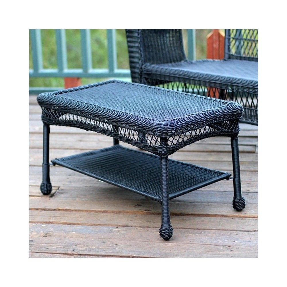 Incredible Wicker Patio Furniture Coffee Table In Black Jeco Inc In Caraccident5 Cool Chair Designs And Ideas Caraccident5Info