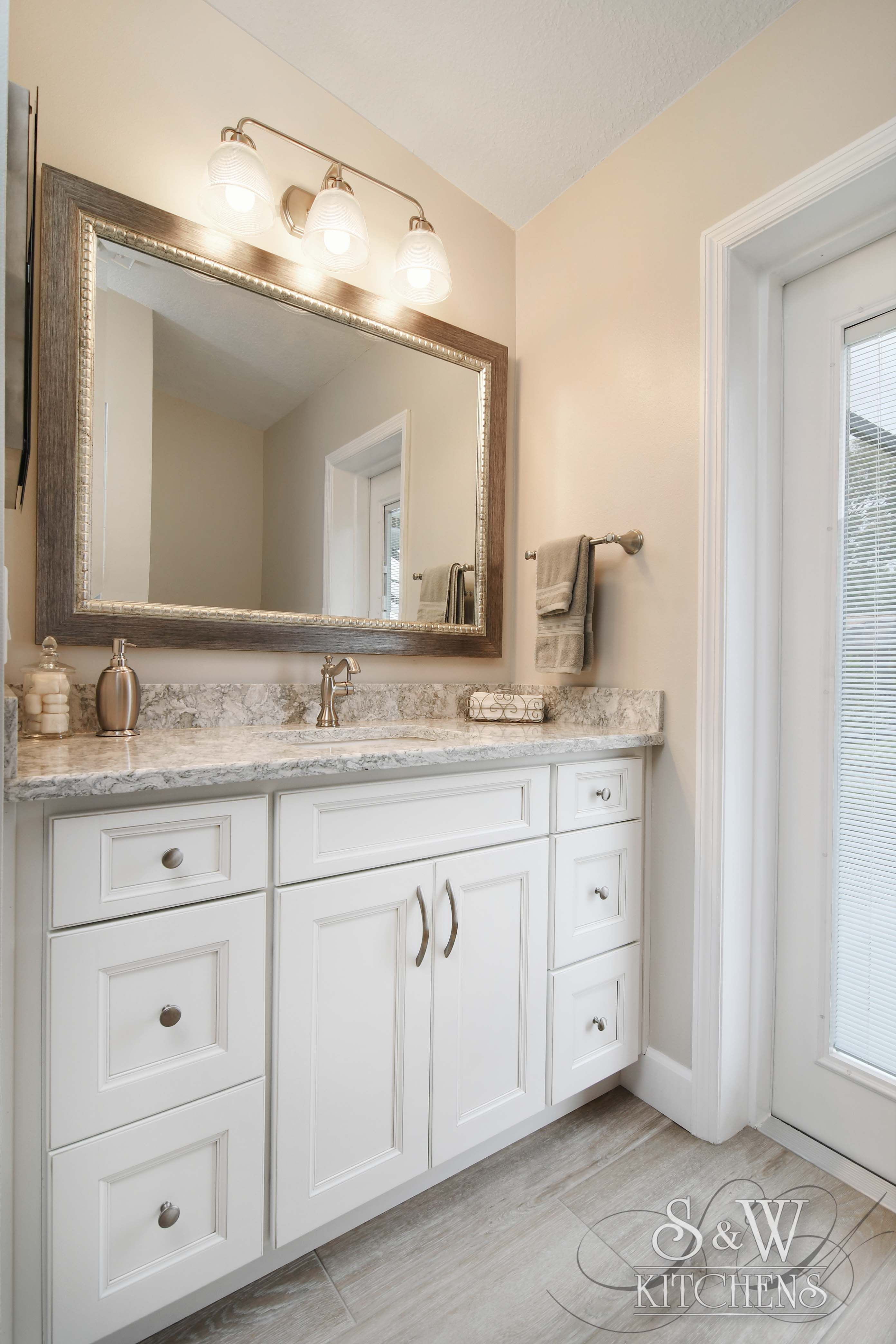 What I like: multiple drawers and center cabinet for guest bathroom ...