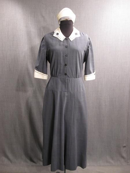 09028844 09026963 Maid Uniform And Cap 1930s Grey Navy