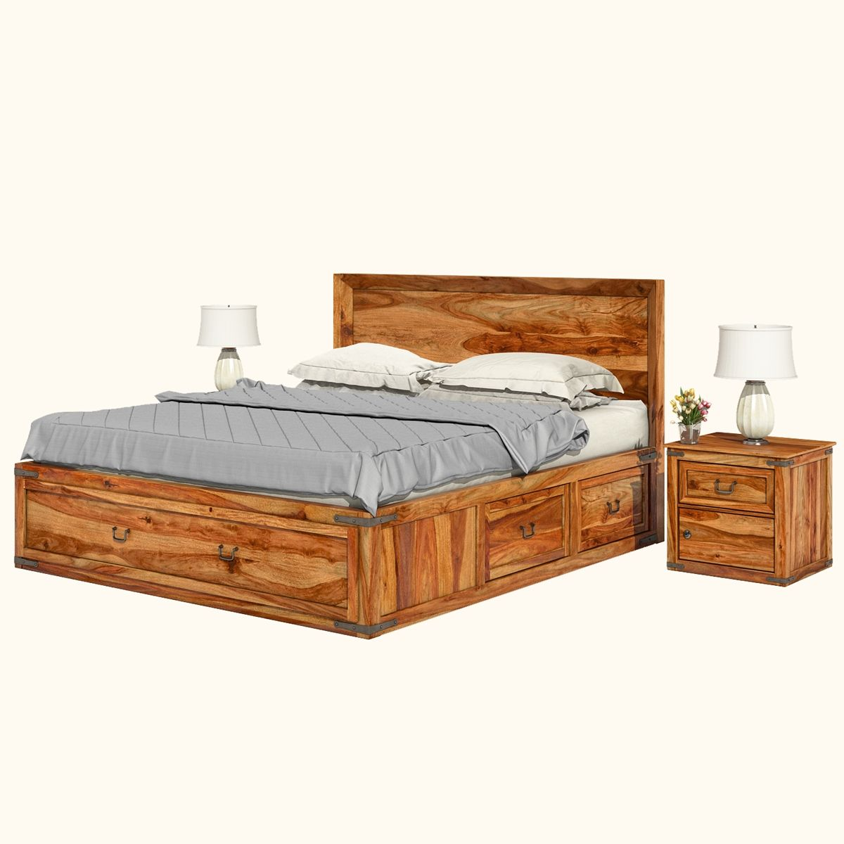 Classic Shaker Solid Wood Platform Captain S Bed W 2 End Tables