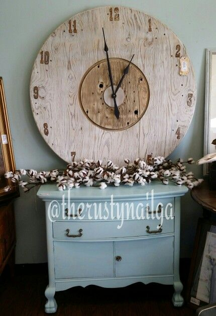 42 in Round Spool Clock  With Rusty Metal numbers. RUSTIC CHARM
