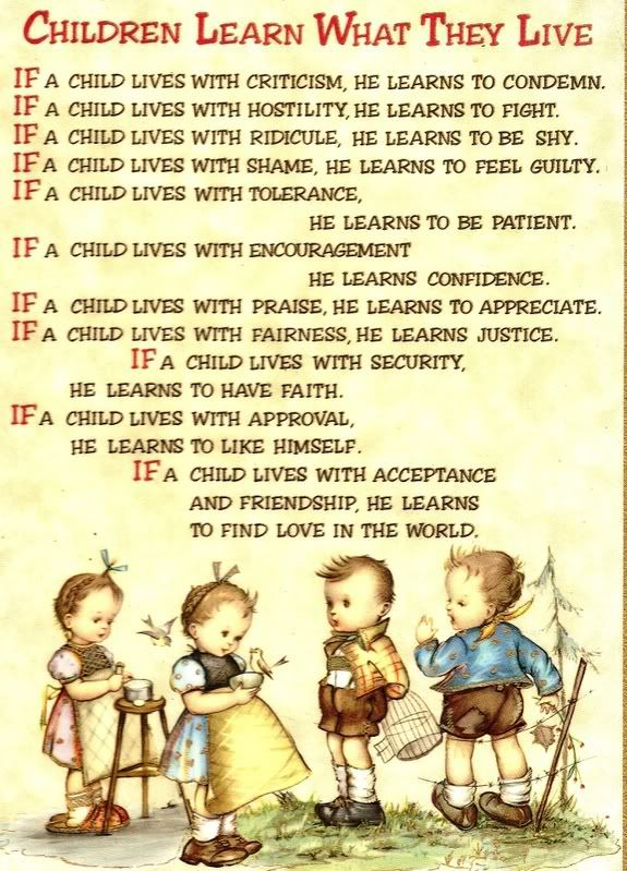 living life poem printable | Children Learn What They Live | Head ...