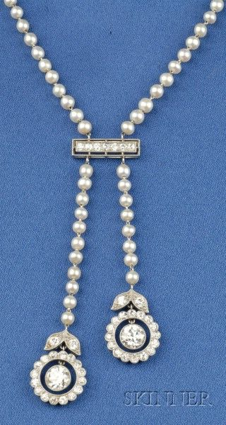 Art Deco Platinum, Diamond and Pearl Negligee, the old European-cut floral drops suspended from a diamond bar joined by seed pearl rope strung on platinum links