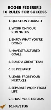 10 Rules for success: Roger Federer