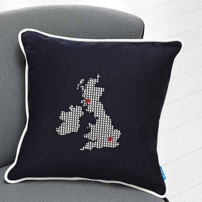 Embroidered UK And Ireland Cushion - Places I have been