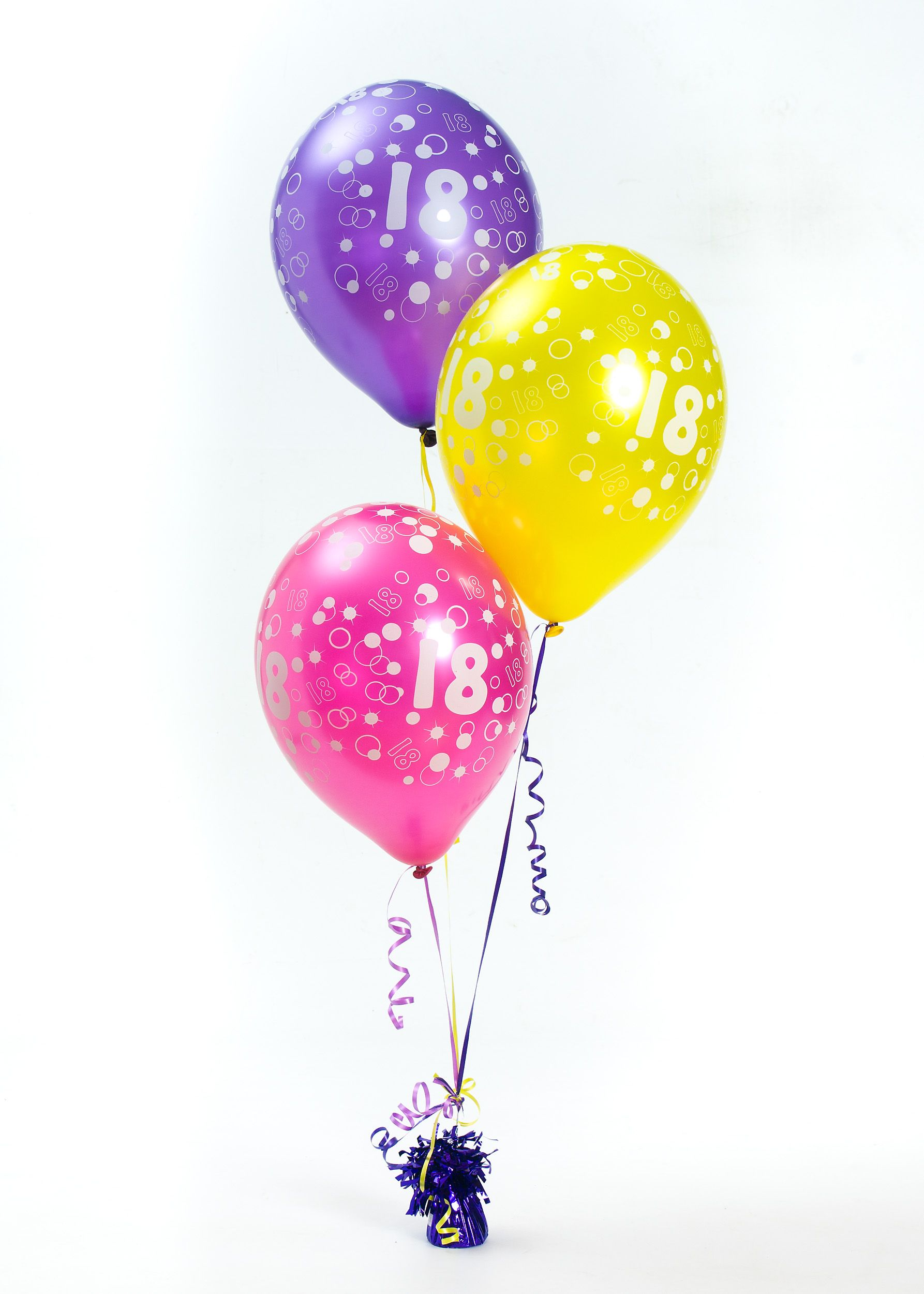 Balloon Arrangement For An 18th Birthday Party Includes Pinkyellow And Purple Balloons