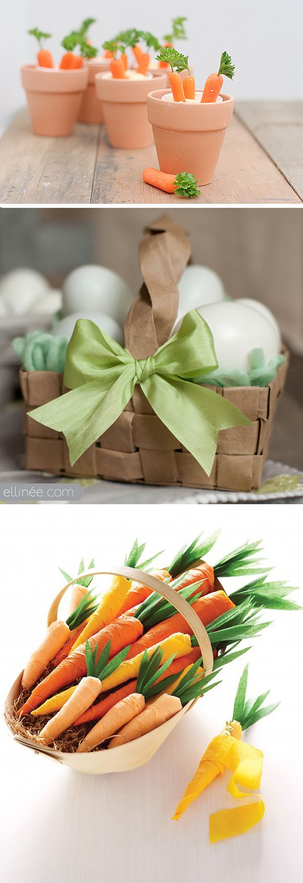 DIY Carrot Patches from Family Fun via Taste tand Tell //  DIY Grocery Bag Easter Basket from Ellinée //  DIY Crepe Paper Carrots from Martha Stewart