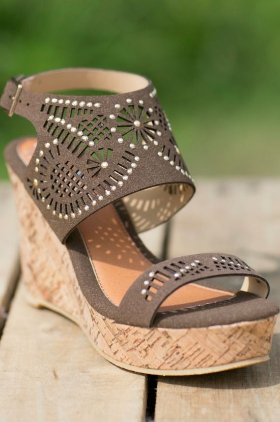 Southern Hottie Wedge - Taupe - Rhinestone Wedges - Taupe Tan Summer Wedges