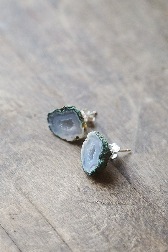 Geode Stud Earrings Natural Stone Studs By Amulettejewelry 92 00