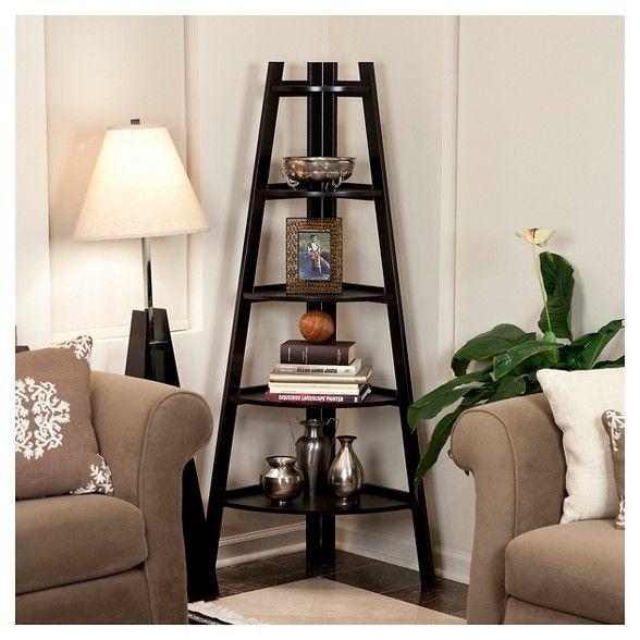 "63"" x 26.5"" Five Tier Corner Ladder Shelf Brown - Danya B ..."