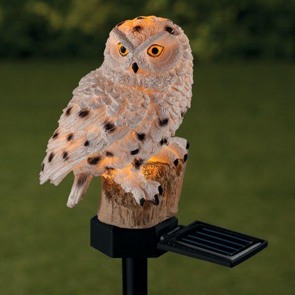Solar White Owl Garden Stake