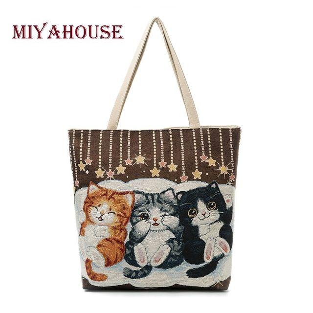 Miyahouse Cute Cats Print Canvas Shoulder Bag Women Large Capacity  Embroidery Handbag Female Shopping Bag Summer Beach Bag Lady 68f0d544f145b