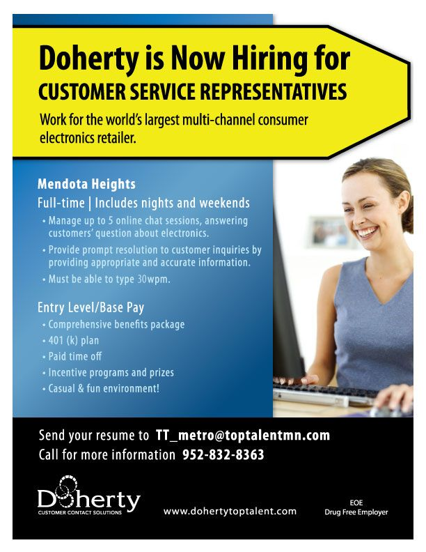 Now hiring Customer Service Representatives in Mendota Heights! Call - Resume Now Customer Service
