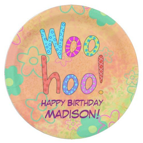 Woohoo Word Text Art Name Personalized Birthday Paper