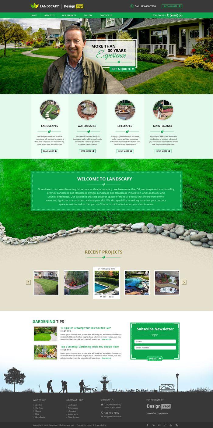 Landscapy Free Landscape Psd Website Template Designyep Business Website Design Website Design Inspiration Website Template