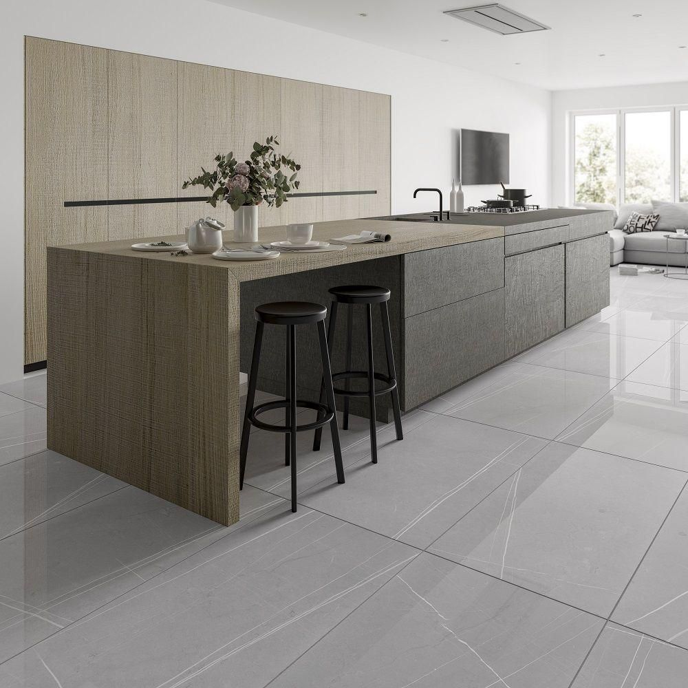 Pedra Light Grey Vein Gloss (With images) | Grey marble kitchen