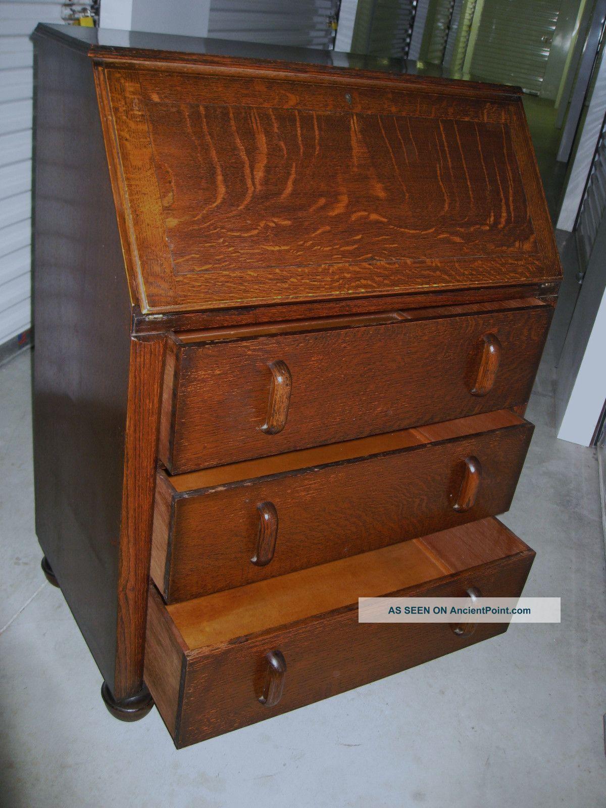 Tiger Oak Furniture Antique Art Deco Tiger Oak Wood Secretary Bureau Drop Front Desk
