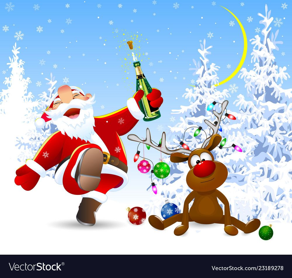 Cheerful Santa Claus And A Deer In The Winter Vector Image On Vectorstock Merry Christmas And Happy New Year Christmas Phone Wallpaper Christmas Wallpaper Backgrounds