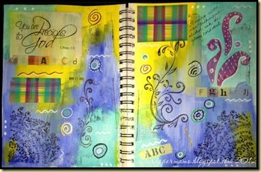 """Incorporated """"rejected"""" tag attempt at alcohol ink plaid"""