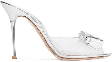 e11e43bcc0d  affiliatead -- Gianvito Rossi - 100 Bow-embellished Metallic Leather And  Pvc Mules - Silver --  chic only  glamour always