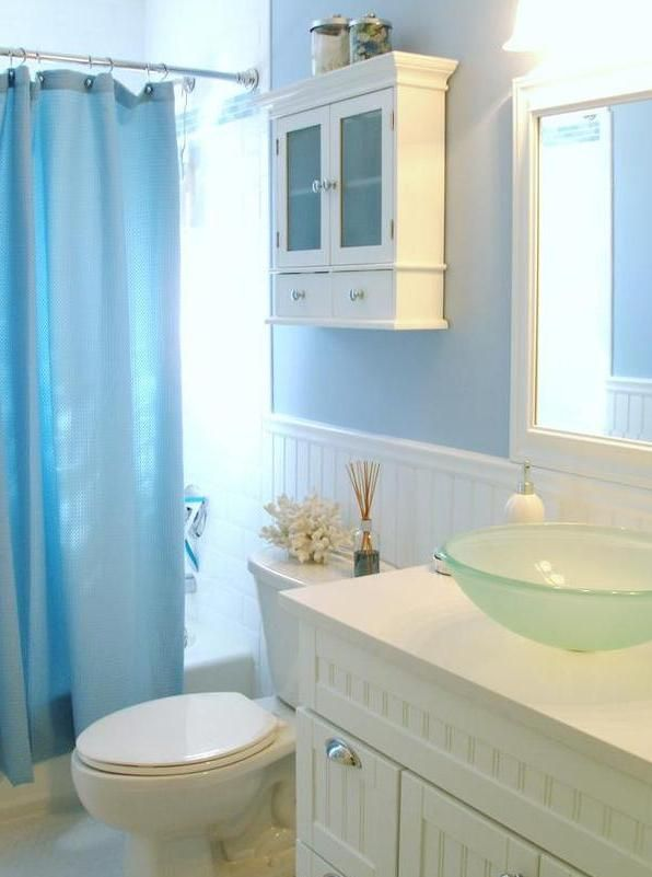 bathroom beach interior decorating ideas with beautiful blue curtain for best ideas for beach bathroom decor to inspire - Bathroom Designs Beach Theme