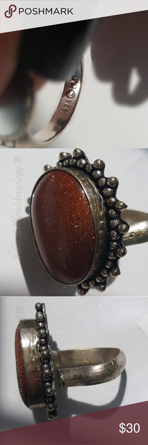 Vintage goldstone ring adjustable band large stone Vintage