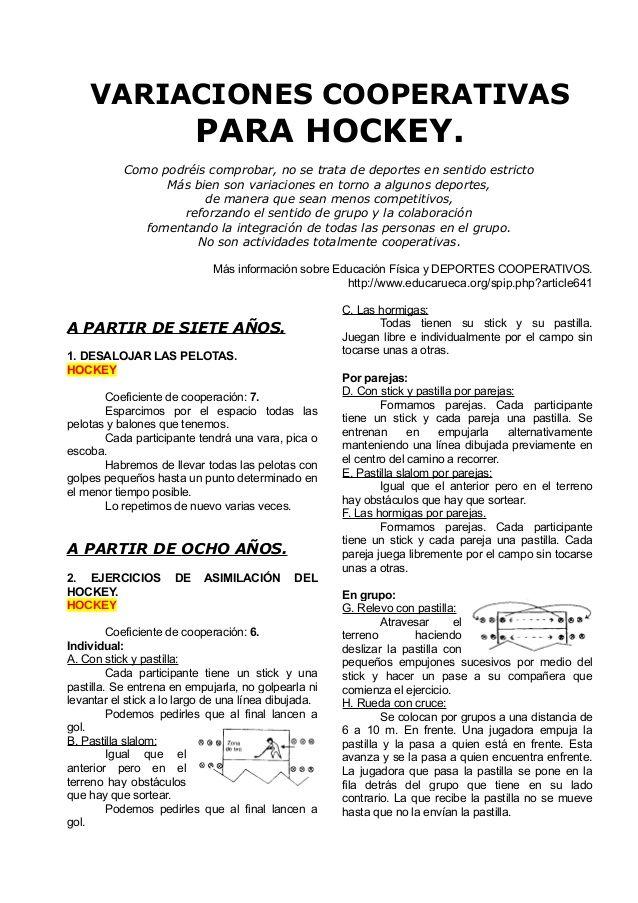 Juegos Cooperativos Para Hockey Deportes Pinterest Juegos