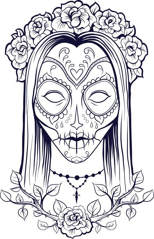 A beautiful and free sugar skull coloring page advancedcoloring sugarskull freecoloringpages