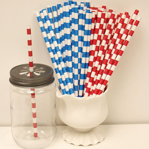 Red and Blue Sailor Striped Straws 30 Assorted by ThePartyFairy