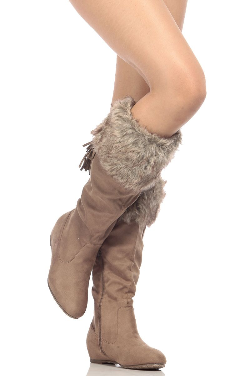 2b8d92718c8 Taupe Faux Suede Knee High Faux Fur Boots   Cicihot Boots Catalog women s  winter boots