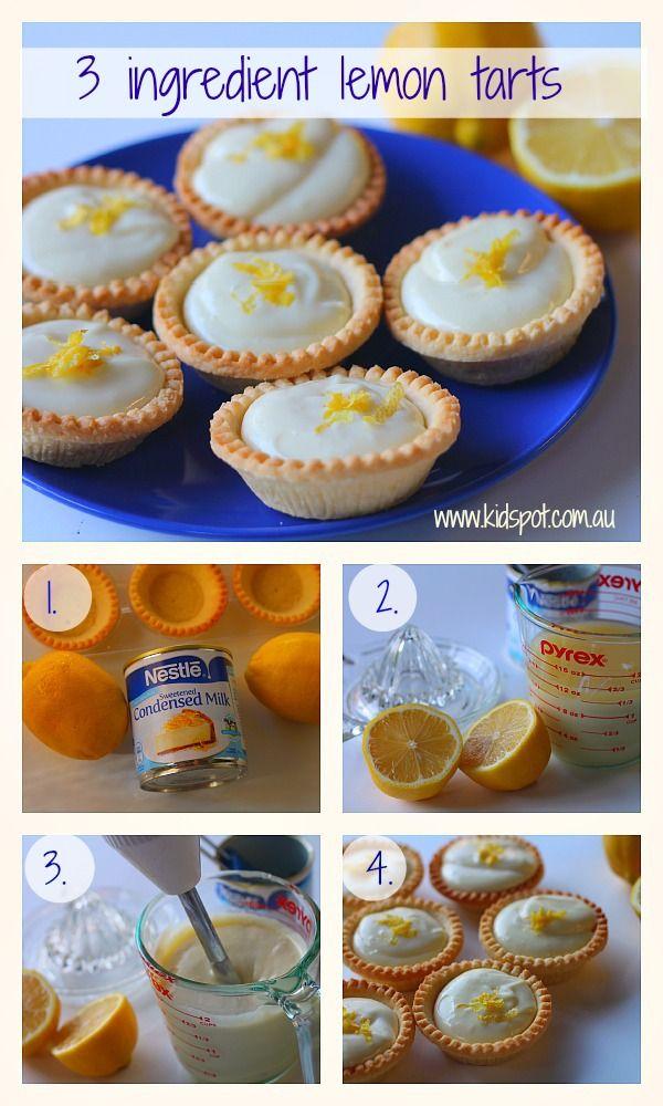 3 Ingredient Lemon Tarts Three Ingredient Recipes Lemon Tart Sweet Tarts