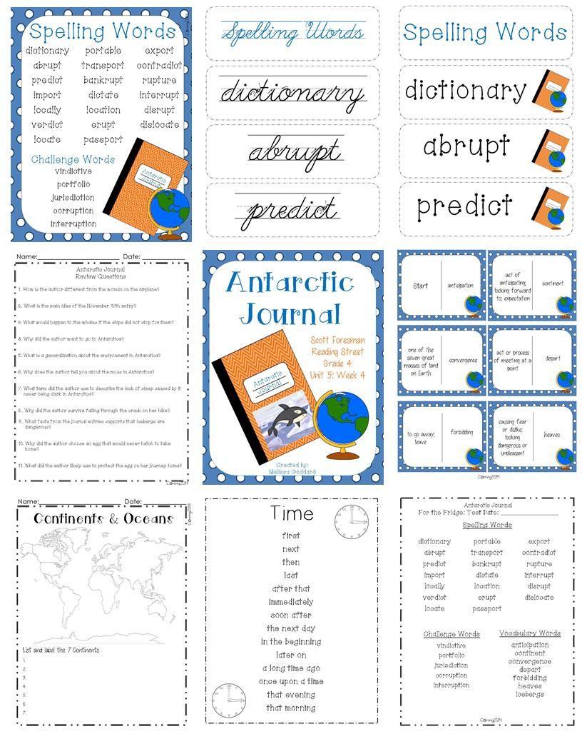 Antarctic Journal Reading Street Grade 4 Reading Street Scott Foresman Reading Street Spelling Words [ 1056 x 816 Pixel ]
