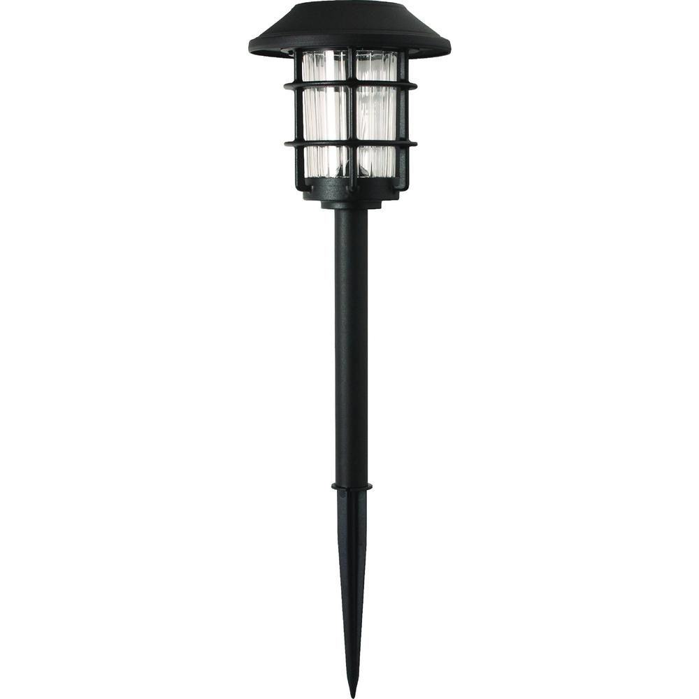 Hampton Bay Solar Black Outdoor Integrated Led 3000k 10 Lumens Metal And Glass Landscape Pathway Light Set 6 Pack Nxt 1769 The Home Depot Landscape Pathway Lighting Pathway Lighting Solar Pathway Lights