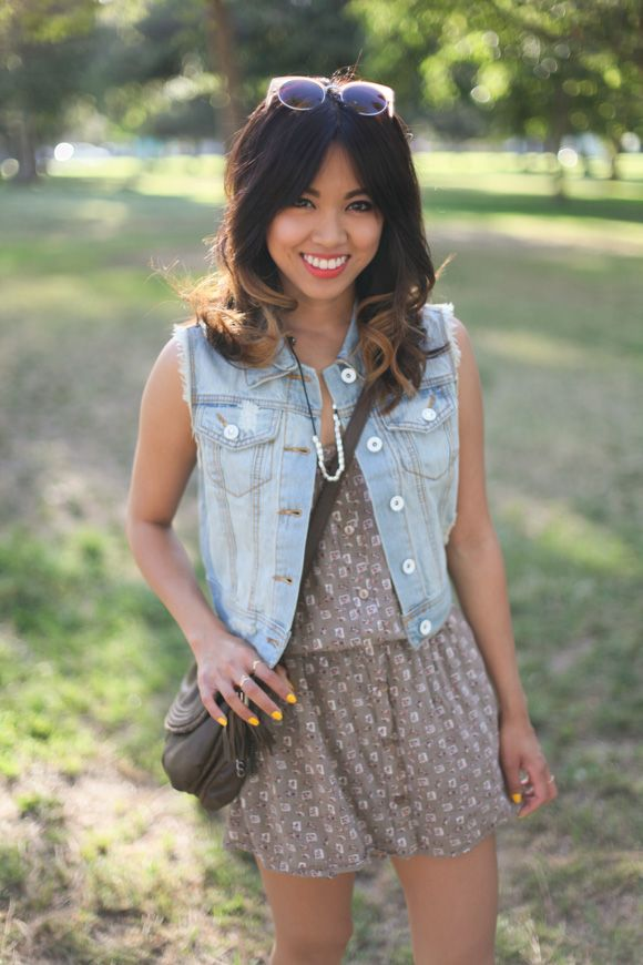 Romper and Denim Vest