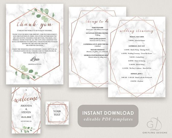 Printable Welcome Note Modern Welcome letter Marble wedding