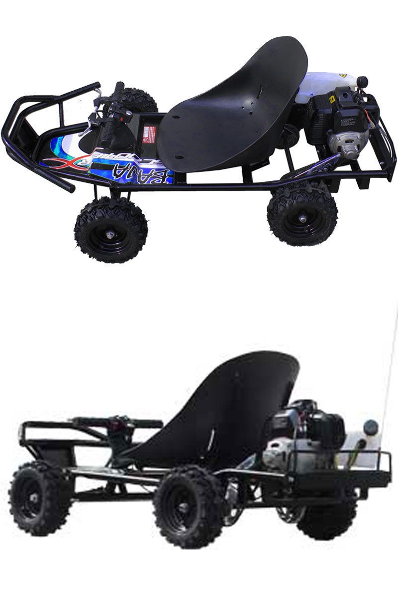 ScooterX Baja Go Kart 49cc Black/Blue For Kids And Adults Max Speed ...
