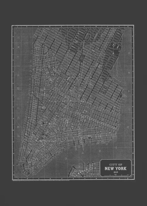 New york city art map blueprint map of new york city vintage new york city art map blueprint map of new york city vintage map office wall art professional reproduction malvernweather Image collections