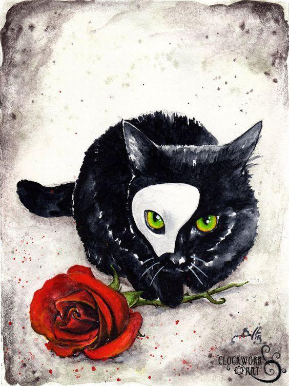 Phantom Kitten: Fine Art Watercolour Black Cat by ClockworkArtShop: