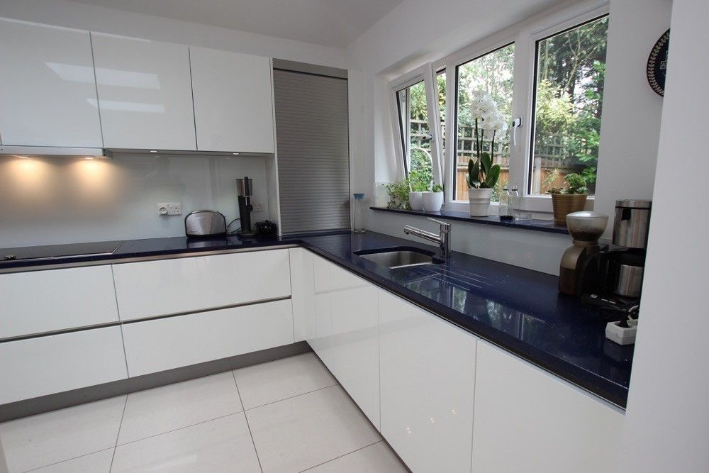 Medium image of handleless white gloss lacquer kitchen cabinets