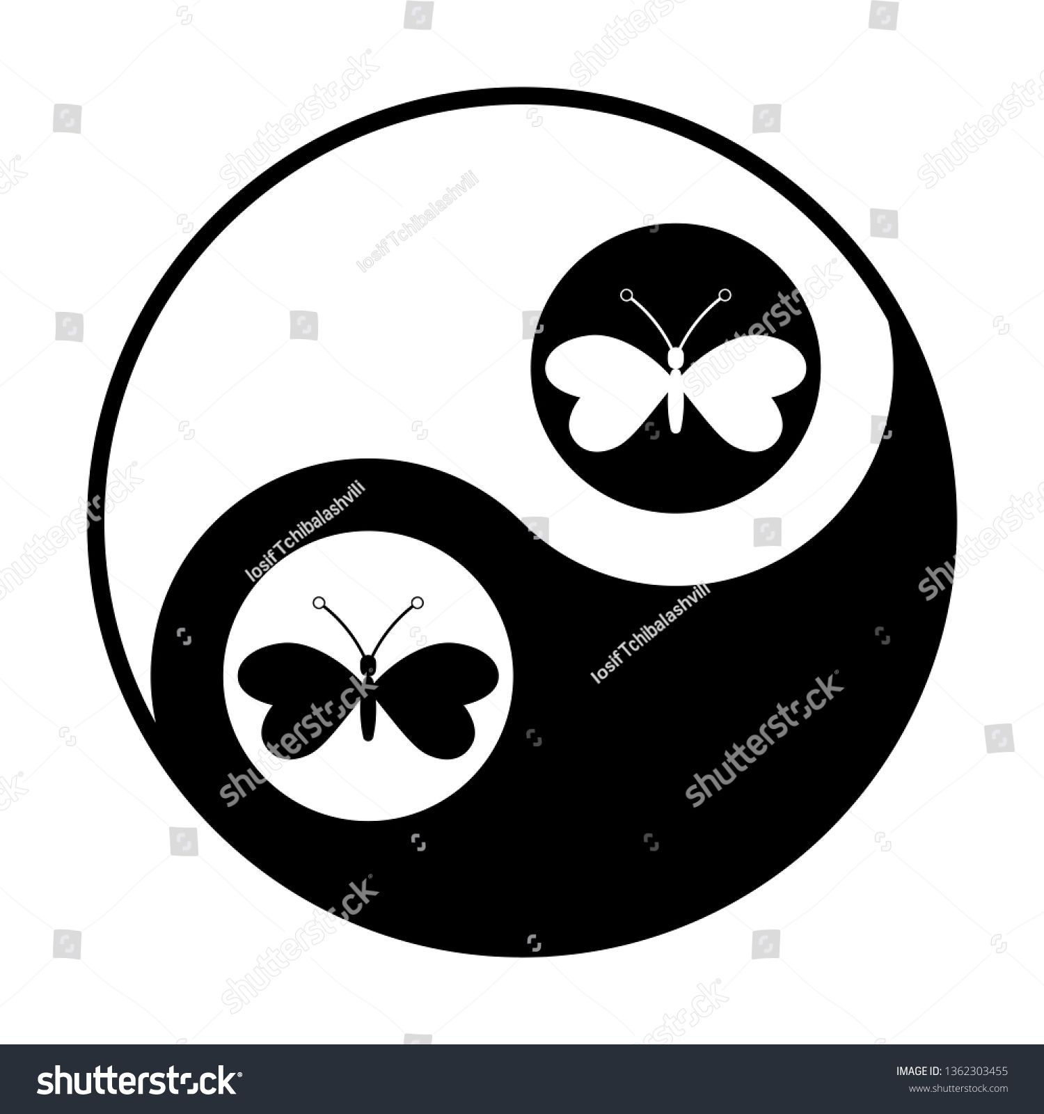Butterfly Icon Vector Black And White Icon Inside Circles Of Yin And Yang Symbol At White Background Sponsored Butterflies Vector Black And White Symbols
