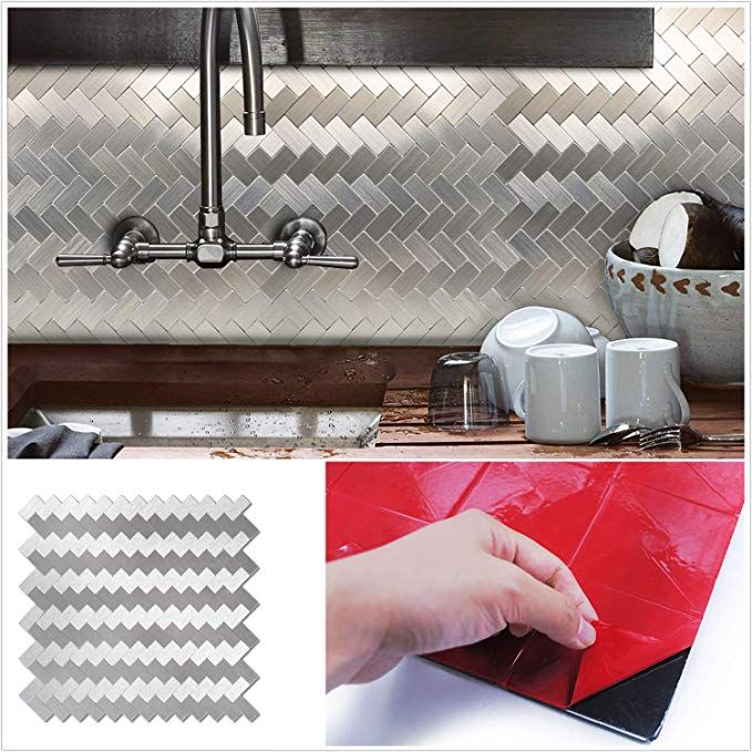 Amazon Com Homeymosaic Peel And Stick Tile Backsplash For Kitchen Wall Decor Aluminum Surface Met Stick Tile Backsplash Peel And Stick Tile Kitchen Wall Decor